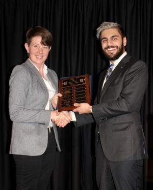 Assistant Prof. Katy Huff with Aristidis Loumis, 2016-17 President of the ANS at Illinois student chapter