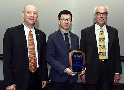 From left, ANS President Andy Klein, NPRE Assistant Prof. Yang Zhang, and ANS Awards Chair Tom Sutton