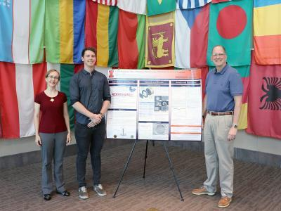 From left, ORNL Research Staff Scientist Lauren Garrison, NPRE graduate student Nathan Reid, and Alan Icenhour, ORNL Nuclear Science and Engineering Directorate Associate Laboratory Director