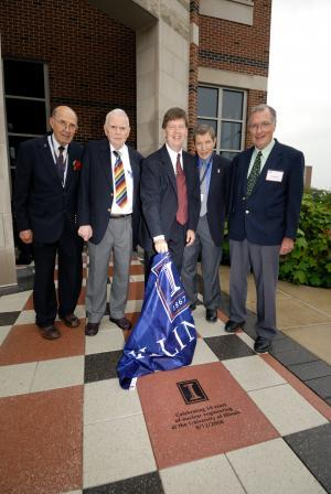 At NPRE's 50th Anniversary celebration, from left, the late Emeritus Prof. Dan Hang, Emeritus Prof. Roy Axford, Prof. Jim Stubbins (then Department Head), Emeritus Prof. Barclay Jones, and Emeritus Prof. George Miley