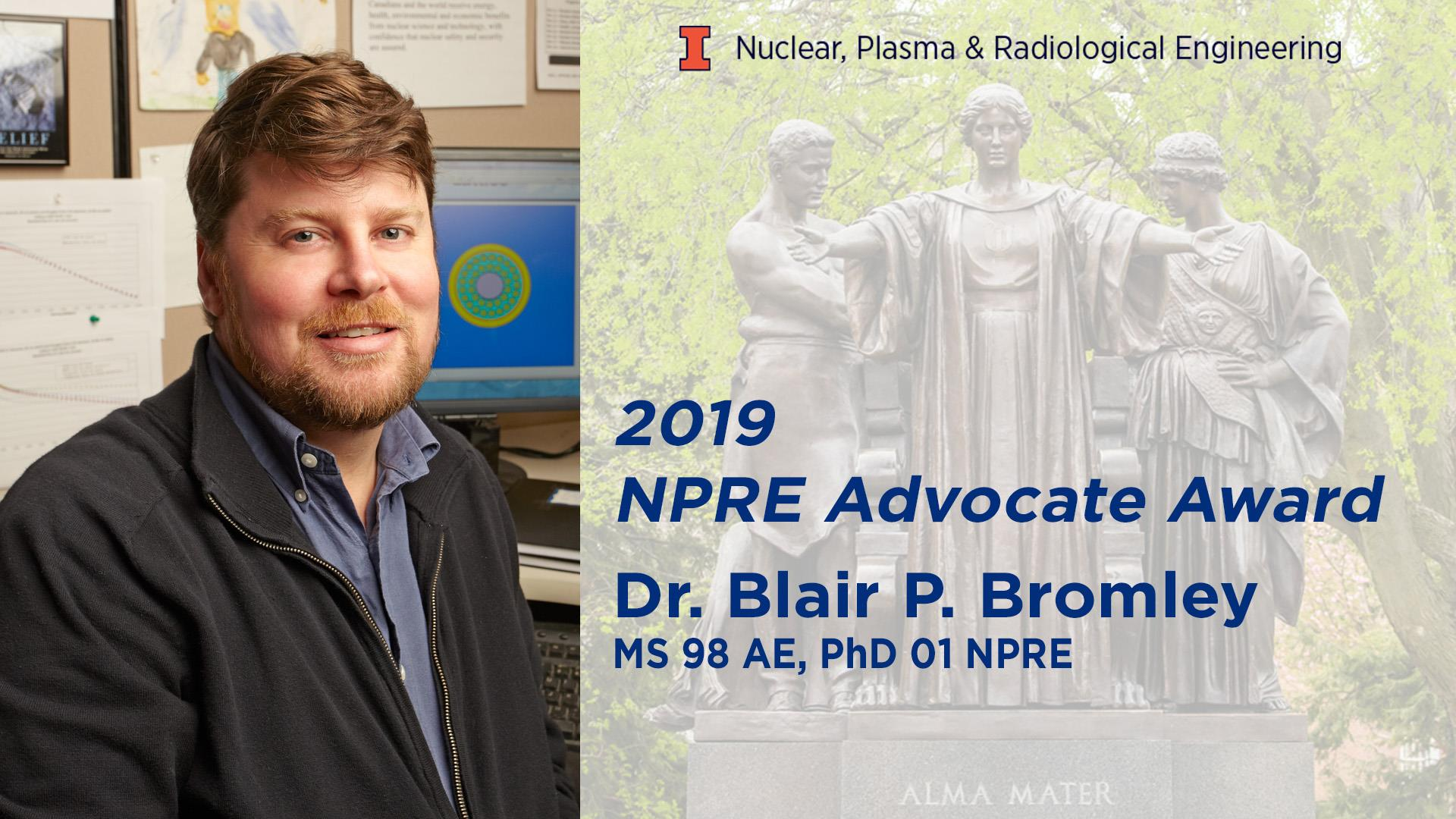 Alumnus Blair Bromley chosen for NPRE 2019 Advocate Award