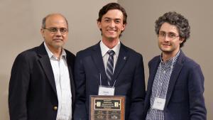 Rizwan Uddin, ANS Student Chapter President Jacob Tellez, and Davide Curreli