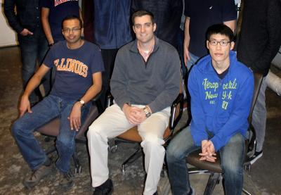 From left, Vineet Kumar, NPRE Assistant Prof. Caleb Brooks, and Zhiee Jhia Ooi.