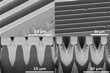 SEM cross-section images of the trapezoidal, left top and bottom, and bladelike fins produced using the MacEtch process. Image courtesy ACS Nano.