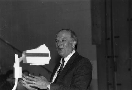 John R. Schrieffer lecturing. Illinois Physics, scanned at the AIP Emilio Segrè Visual Archives