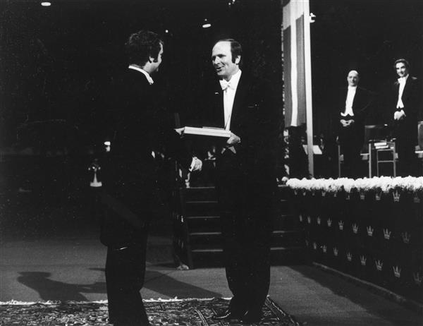 John R. Schrieffer receiving the Nobel Prize in Physics. Illinois Physics, scanned at the AIP Emilio Segrè Visual Archives
