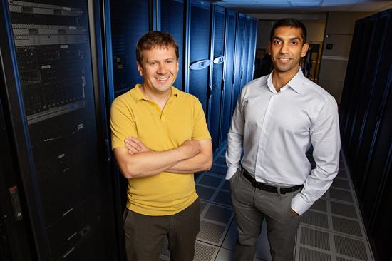 Physics professor Aleksei Aksimentiev, left, and graduate student Manish Shankla. Photo by L. Brian Stauffer, University of Illinois at Urbana-Champaign