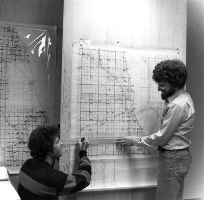 Graduate assistants Scott MacArthur (left) and Mark Ferris, 1981
