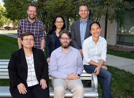 The NRT materials/data science team includes (back row from left) Lucas Wagner (Physics), Bo Li (Statistics), and Harley Johnson (MechSE, Associate Dean for Research). (Front row from left): Klara Nahrstedt (CS, Director of Coordinated Science Laboratory), Dallas Trinkle (MatSE), and Pinshane Huang (MatSE). Not pictured: Lorna Rivera (NCSA), Luke Olson (CS), Elif Ertekin (MechSE), and Matthew Turk (Information Sciences)