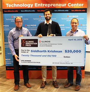 From L to R: Jed Taylor, Executive Director of TEC, Siddharth Krishnan, and Andrew Singer, Associate Dean for Innovation and Entrepreneurship