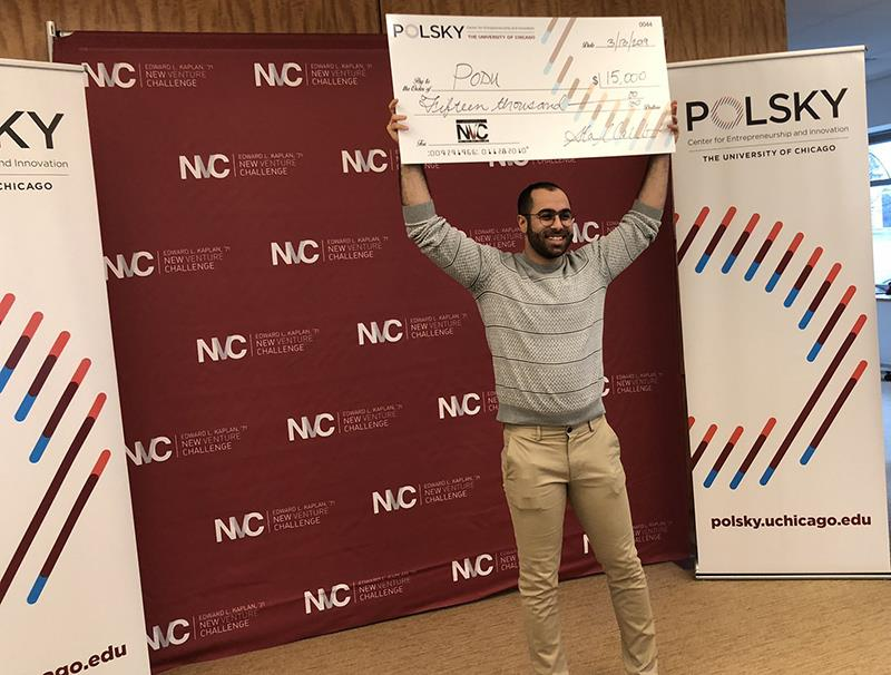 PodU, the first platform for podcasting in Arabic, took home first place at the 2019 College New Venture Challenge finals. Photo credit: Polsky Center archives.