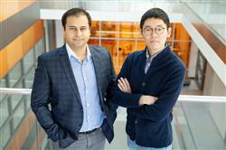 Electrical and computer engineering professor Can Bayram, left, and graduate student Kihoon Park led a study that redefines the thermal properties of gallium nitride semiconductors.