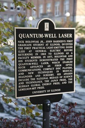 A plaque commemorating ECE Professor Nick Holonyak?s invention of the quantum-well laser now stands in the footprint of the old Electrical Engineering Research Laboratory.