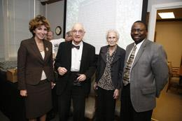 Provost Linda Katehi (left) and College of Engineering Dean Ilesanmi Adesida (right) flank ECE Professor Nick Holonyak and his wife Kay at a reception celebrating the Holonyak historical marker.