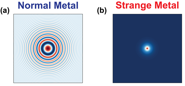 Figure 1: (a) Charge disturbance in a normal metal freely moving as a wave with well-defined oscillations. (b) Charge disturbance in a strange metal. Unlike ordinary metals, here the disturbance barely propagates and lacks oscillations, implying the charge response of a strange metal is localized in both space and time. Credit: Ali Husain, Illinois Physics