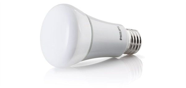 This 11-watt LED bulb gives off the equivalent light of a 60-watt incandescent bulb. There are 