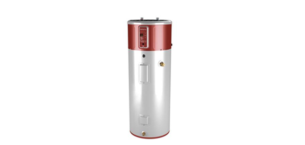 The 50-gallon <a href='http://www.geappliances.com/heat-pump-hot-water-heater/' target='_blank'>General Electric GeoSpring Heat Pump Water Heater</a> used in Colonial Solar House