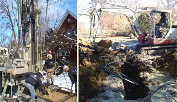 The five wells are dug on a snowy day in March 2013. The tubing for the ground loops can be seen coiled up on a spool. A mini-excavator was used to dig a trench to connect the wells to each other and to the house. The ground loops can be seen protruding from the trench.