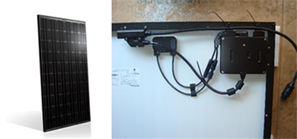 BenQ 255-watt AC solar module. Attached to the back is a SolarBridge microinverter.