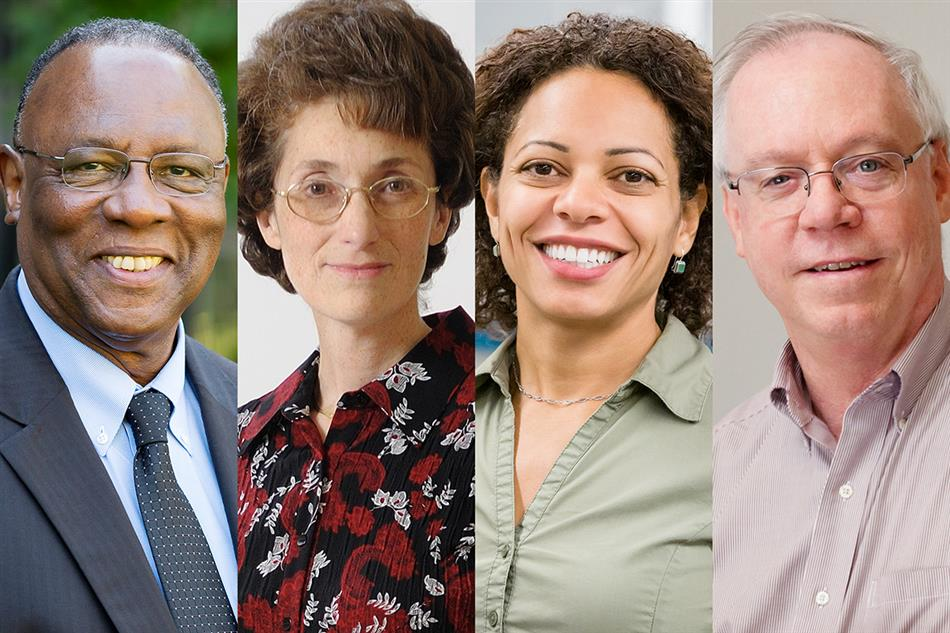 From left, College of Education Dean James Anderson, chemistry professor Nancy Makri, physics professor Nadya Mason and chemistry professor Kenneth Schweizer are among 262 elected to the American Academy of Arts and Sciences this year.