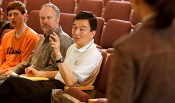 ECE graduate student and class TA John Stratton, NVIDIA Chief Scientist David Kirk, and ECE Professor Wen-Mei Hwu, participate in a discussion during a recent meeting of ECE 498.