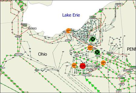Figure 1 shows a simulation of the flow of electric power on the high voltage transmission grid in Northern Ohio at about 15:33 EDT on August 14 th 2003, a time when emergency control may have been able to prevent the East Coast blackout.