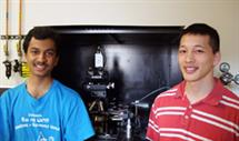Sumit Dutta (left) took part in PURE during the Fall 2008 semester. His mentor was Albert Liao (right). Dutta's project investigated the high drain-current breakdown of carbon nanotube field-effect transistors.