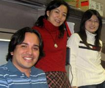 ECE graduate students Juan Carlos Niebles and Jia Li flank Fei-Fei Li, ECE adjunct assistant professor.