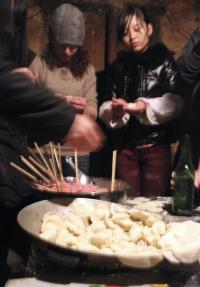 On New Years Eve Michele Niaki and the other students joined their village hosts in making dumplings.
