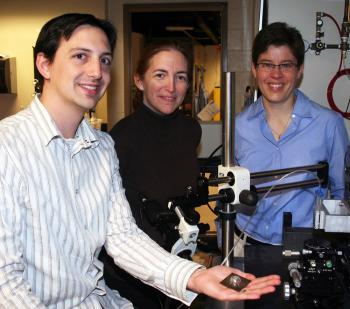 (l to r) Postdoctoral researcher Jacob Adams with principal investigators Jennifer Bernhard and Jennifer Lewis.