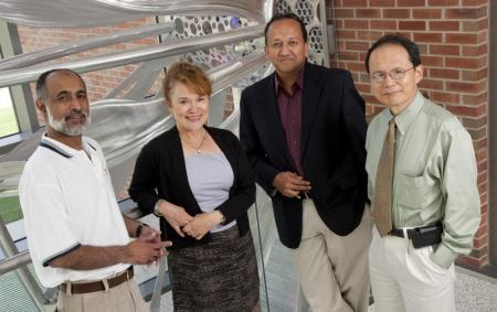 (l to r) CNST associate director Irfan Ahmad, Martha Gillette, Rashid Bashir (PI), and Jimmy Hsia. Taher Saif (a Co-PI) is not pictured.