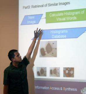 DSSI student discussing DSSI Computer Vision project.