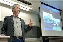 Martin Eberhard gives the College of Engineering�s Dean's Distinguished Leadership Lecture in April at Everitt Lab.
