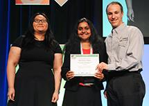 Shobha Vasudevan (center), with graduate student Sai Ma (left), received the Best Paper Award at the 2014 Design Automation Conference in June.]