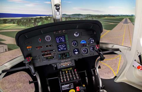 Illini engineers have helped to make major advancements in developing realistic virtual flight environments, shown here in the Airbus AS350 B2 VEMD Simulator, © 2017 FRASCA International, Inc. All rights reserved.