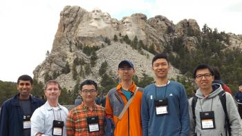 CS  @ ILLINOIS ACM ICPC team and coaches at Mount Rushmore. From left: Uttam Thakore, Mattox Beckman, Yuting Zhang, Tong Li, Yewen Fan, and JIngbo Shang.