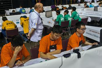 The CS @ ILLINOIS ACM ICPC team hard at work.