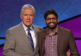 Jeopardy host Alex Trebek with CS @ ILLINOIS graduate student Pranjal Vachaspati, who will defend his six-game winning streak in today's episode of Jeopardy. Photo courtesy Jeopardy Productions Inc.