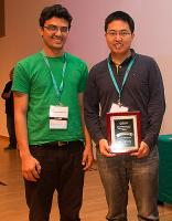 Third place in the 2014 CSAW Applied Research challenge went to CS @ ILLINOIS grad student Muhammad Naveed (left) and Indiana University grad student Xiaoyong Zhou.