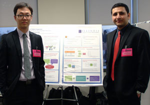 CS grad students Man-Ki Yoon (left) and Fardin Abdi Taghi Abad received a $100,000 Fellowship from Qualcomm for their research and presentation on security for real-time embedded systems.