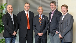 Participants on the Chicago After Hours Tech Panel. Brad Keywell, Professor Rob A. Rutenbar, Mayor Rahm Emanuel, Mike Evans, and Eric Lunt (l-r).