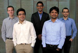 The 2013 Siebel Scholars: (l to r) Jonathan Tedesco, Harshit Kharbanda, Manoj Krishnan, Arpit Agarwal, and Ali Vakilian.