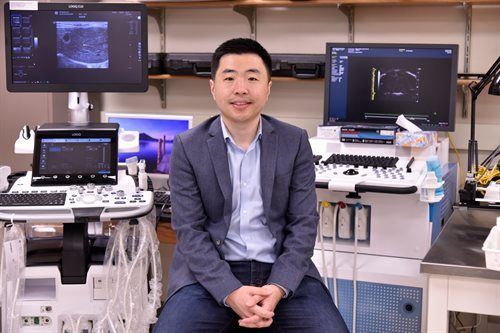 Pengfei Song, an assistant professor of electrical and computer engineering, used ultrasound localization microscopy to demonstrate that oxygen levels are lower in tumors compared to healthy tissue.