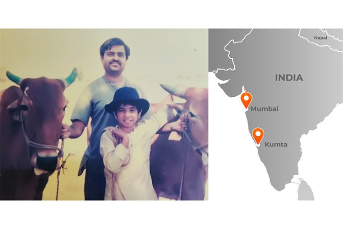 Girish Chowdhary, foreground, and his father, Vinayak Chowdhary, with their oxen Dhavalya and Povalya. (Photo courtesy: Illinois News Bureau, Girish Chowdhary and map by Michael B. Vincent)