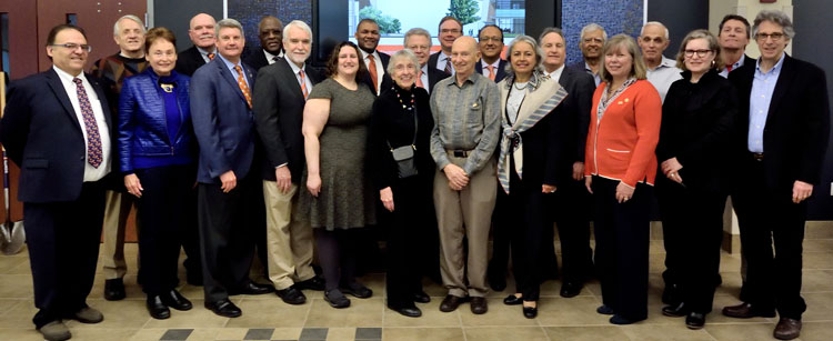 Many generous donors to the modernization project attended the ceremony, pictured here with University, College and Department leadership.