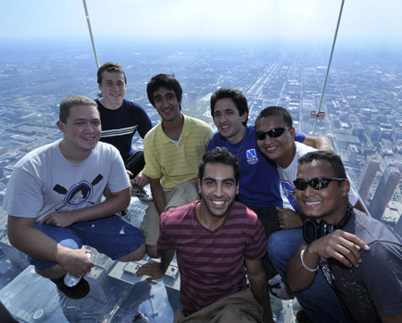 Students enjoy the Ledge at Willis Tower in Chicago
