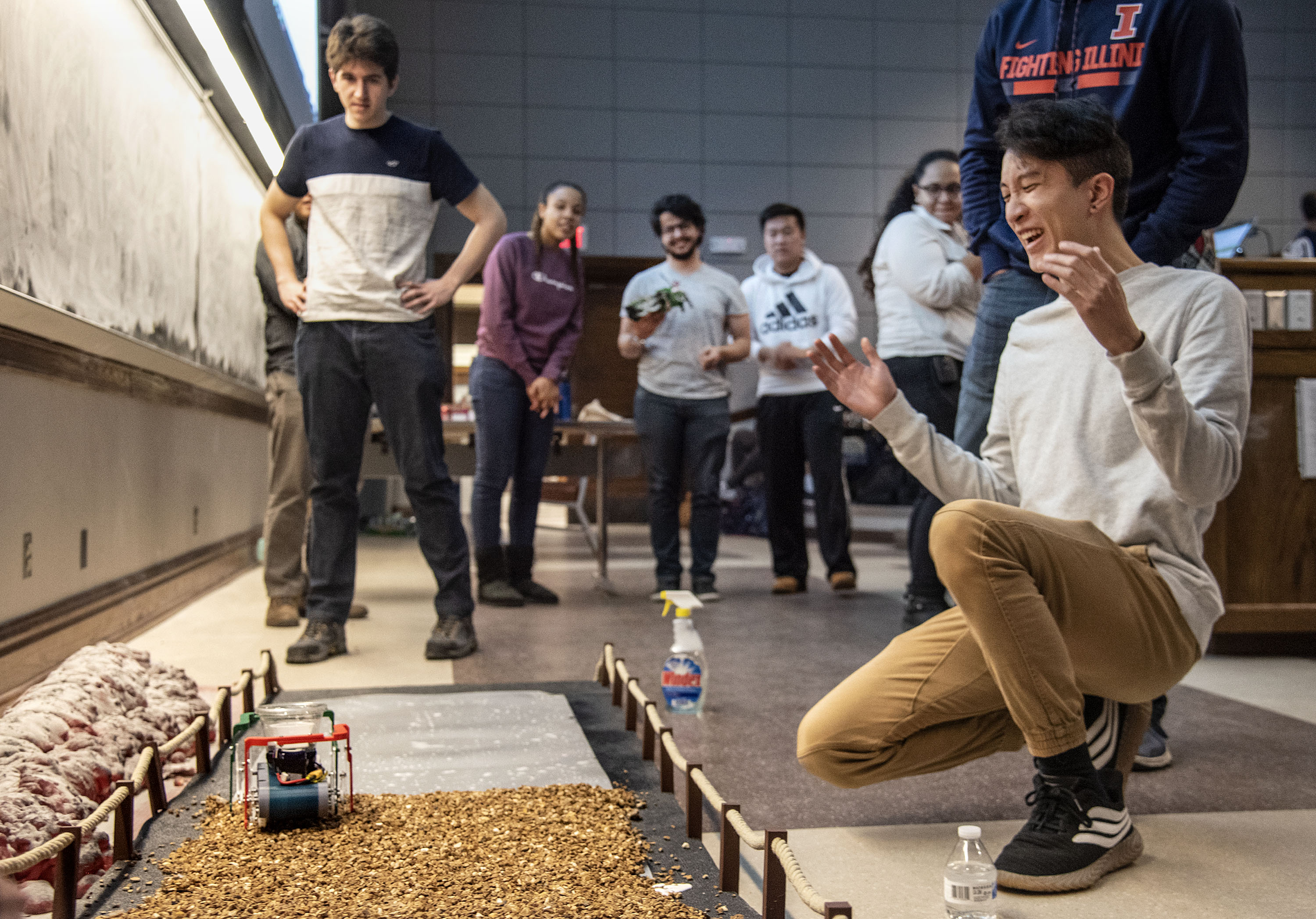 Robot Challenge finalist celebrates competition success.