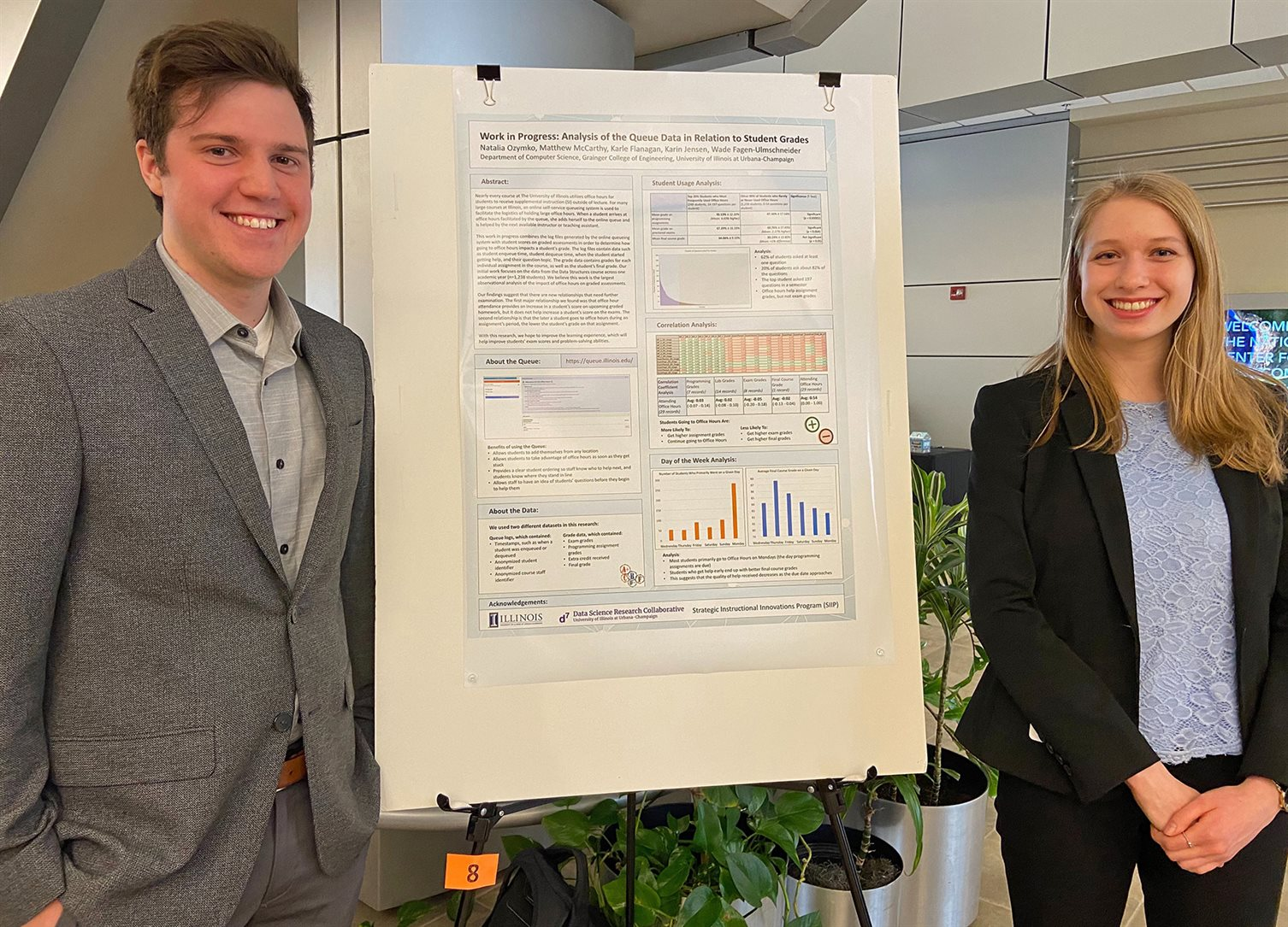 Prior to their June 2020 ASEE conference presentation, CS senior Natalia Ozymko (right) and mathematics student Matthew McCarthy presented the results of their research at an NCSA-hosted poster session on campus.