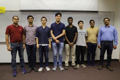 The team involved in the DOE-funded project (L-R: Professor Sanjiv Sinha, Sreenath Sundar, Hanyang Zhao, Ho Chan Chang, Manjunath Rajagopal, Yuquan Meng, Gowtham Kuntumalla, and Professor Srinivasa Salapaka).