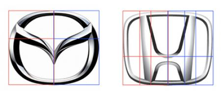 Golden rectangles were used to proportion Honda and Mazda's most recent badges.